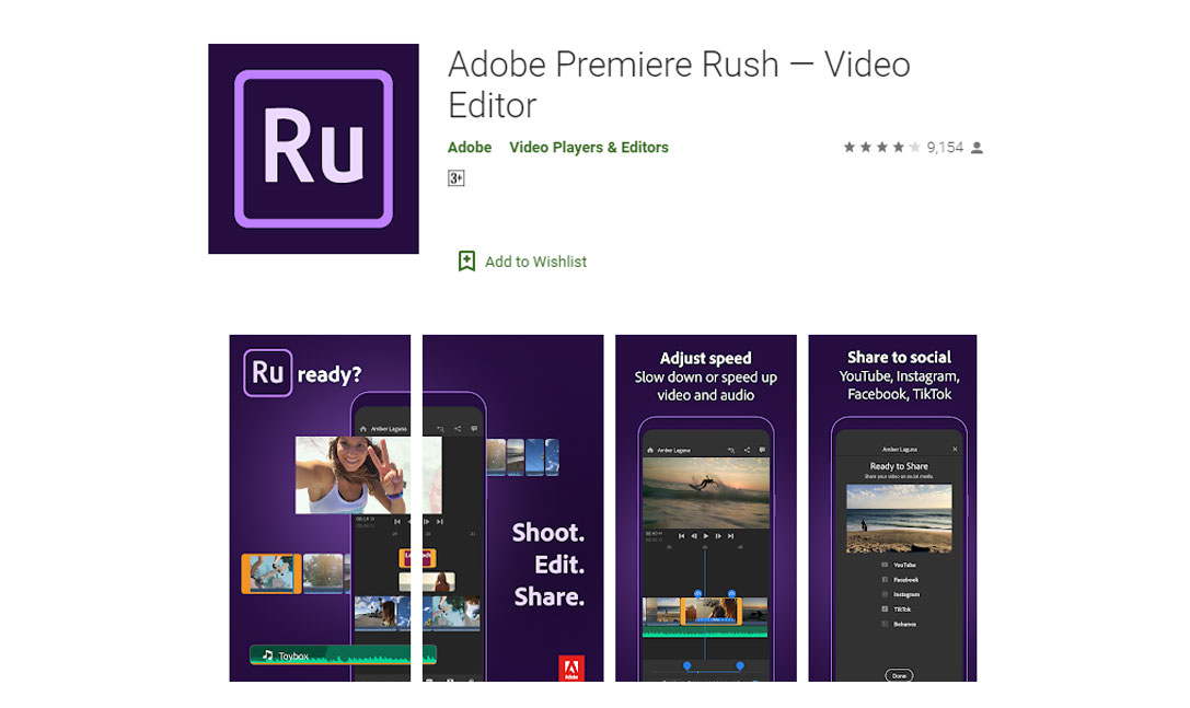 بهترین اپلیکیشن های ویرایش فیلم اندروید - دانلود اپلیکیشن Adobe Premiere Rush