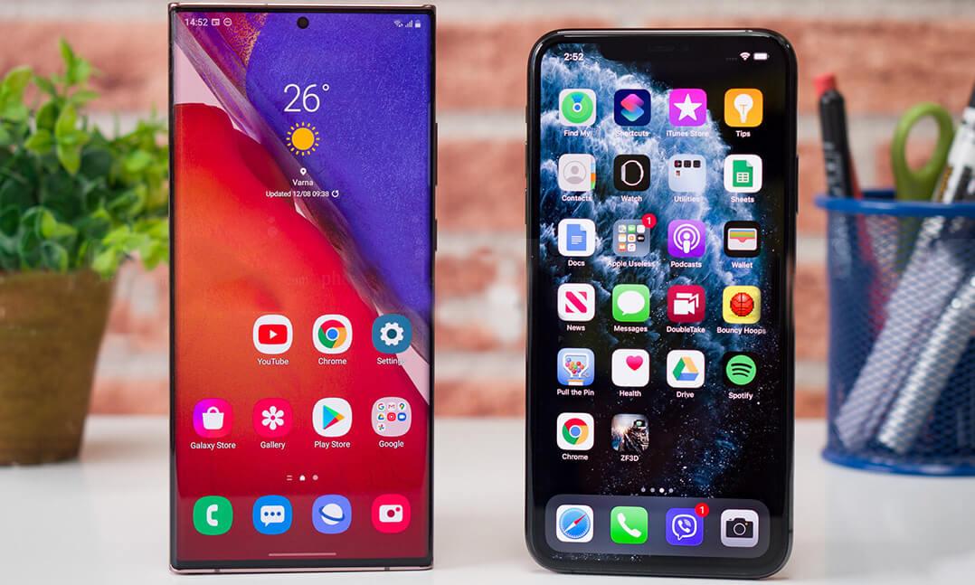 مقایسه گوشی آیفون 11 pro max با گوشی نوت 20 اولترا